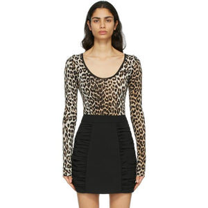 GANNI Brown and Black Leopard Bodysuit