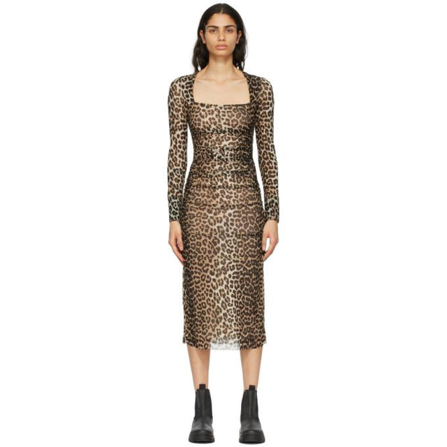 GANNI Brown and Black Mesh Printed Dress