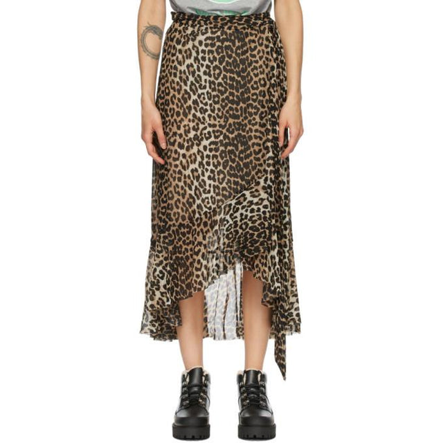 GANNI Brown and Black Mesh Printed Wrap Skirt