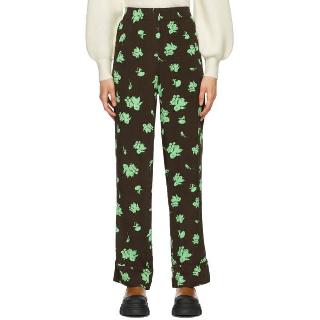 GANNI Brown and Green Printed Crepe Trousers