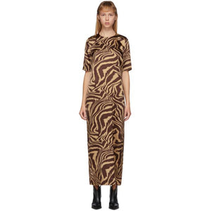 GANNI Brown Silk Tannin Dress