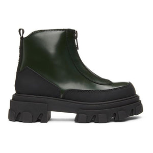GANNI Green Brush Off Zipper Boots