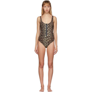 GANNI Tan and Black Leopard One-Piece Swimsuit