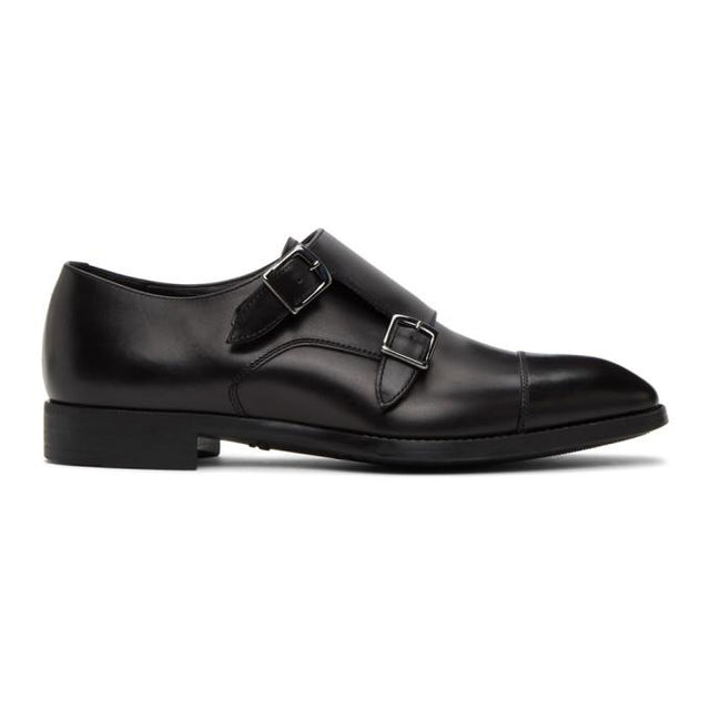 Giorgio Armani Black Leather Monkstraps