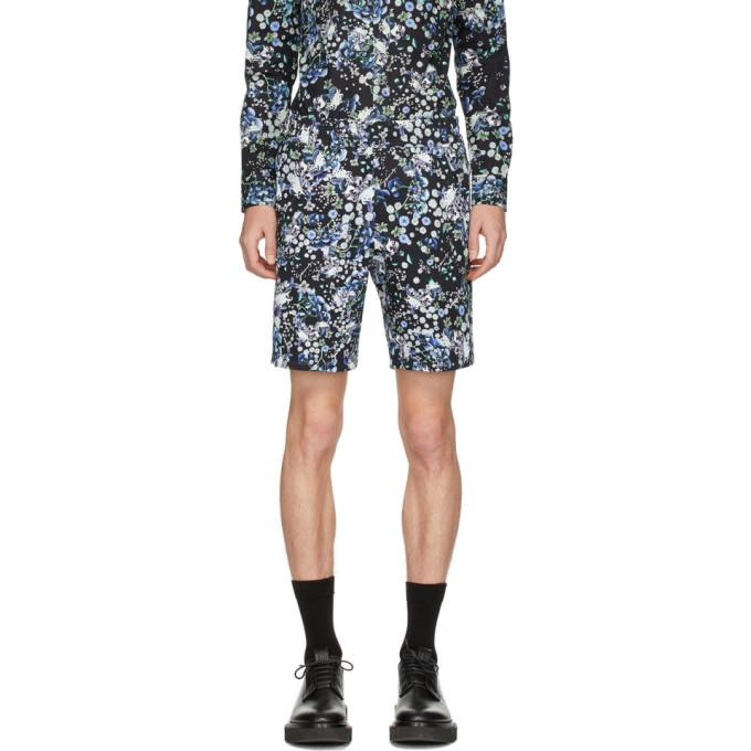 Givenchy Black and Blue Flowers Shorts