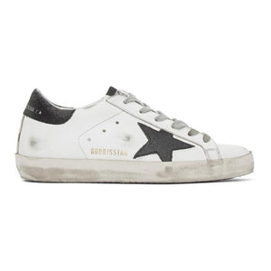 Golden Goose SSENSE Exclusive White and Black Glitter Superstar Sneakers