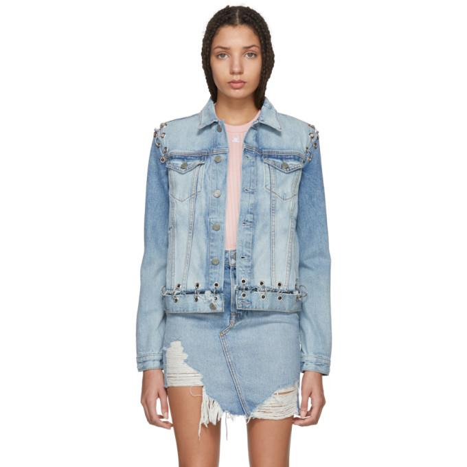 Grlfrnd Blue Gia Hardware Denim Jacket-Jackets & Coats-BLACKSKINNY.COM