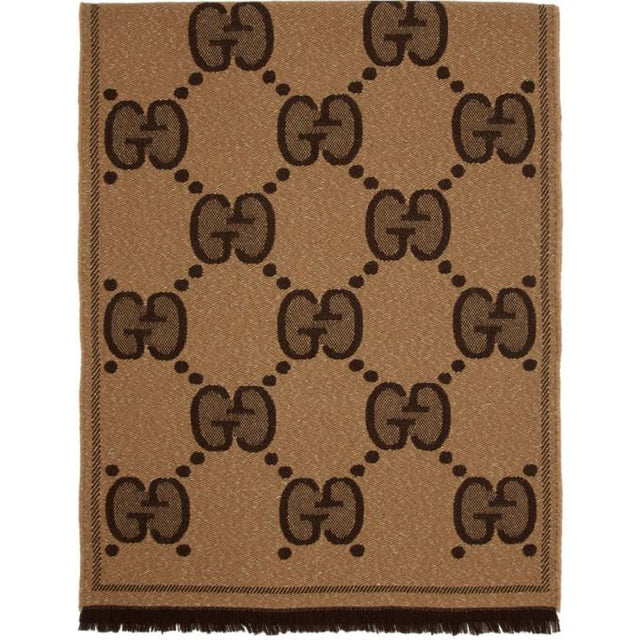 Gucci Beige and Brown Lady Nest Lux Scarf