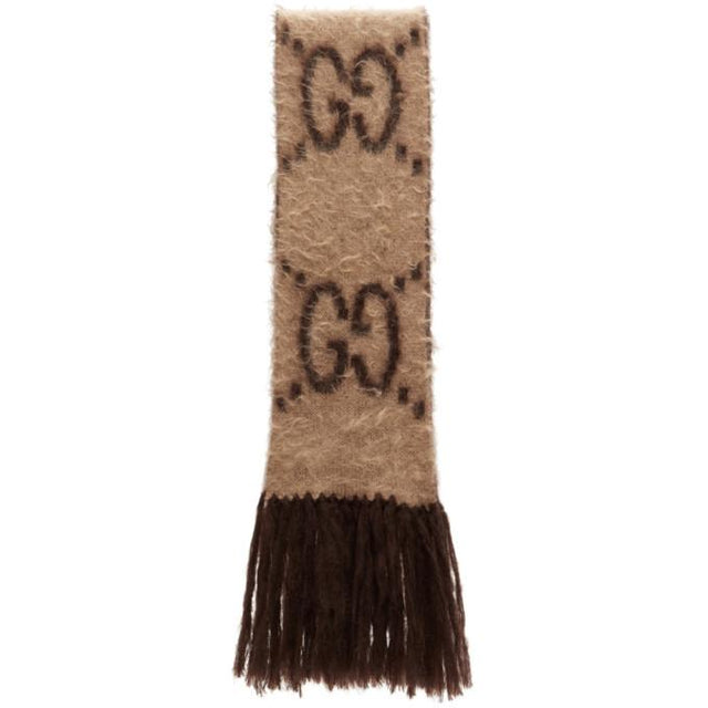 Gucci Beige and Brown Mohair GG Scarf