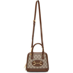 Gucci Beige and Brown Small GG Gucci 1955 Horsebit Bag