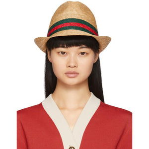 Gucci Beige Straw Web Hat