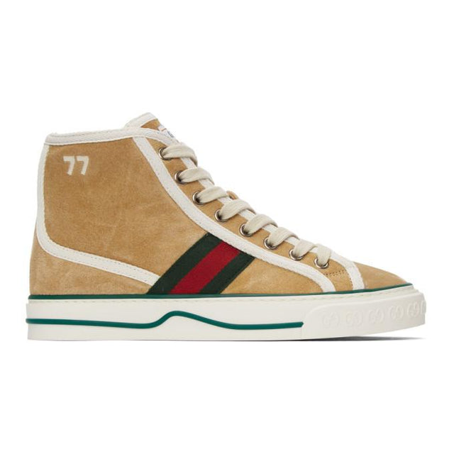 Gucci Beige Suede Gucci Tennis 1977 High-Top Sneakers