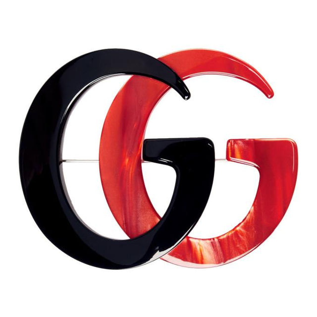 Gucci Black and Red GG Marmont Brooch