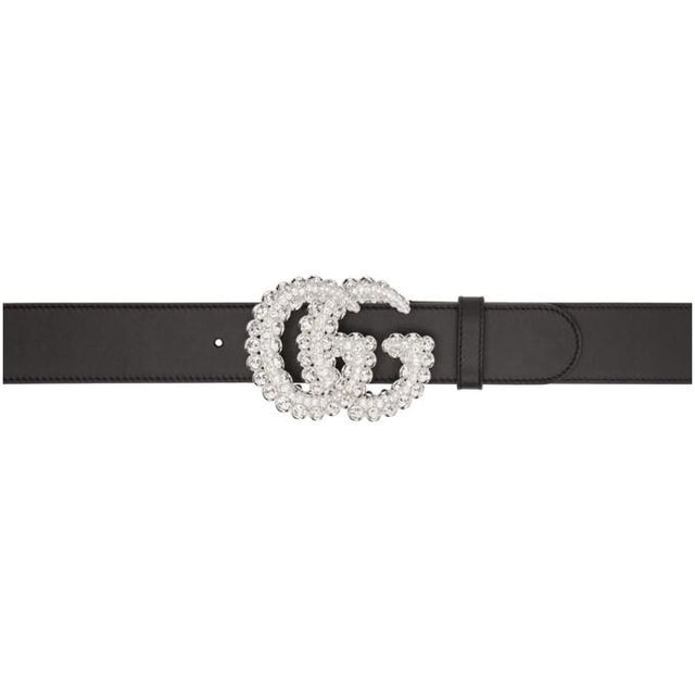 Gucci Black Crystal GG Belt