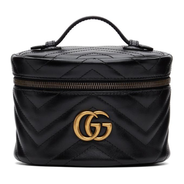 Gucci Black GG Marmont 2.0 Zip Around Cosmetic Bag