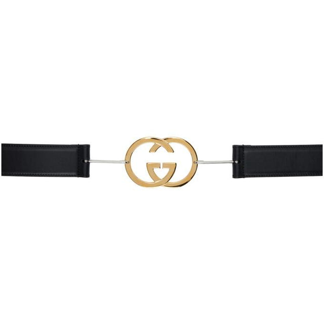 Gucci Black Interlocking G Buckle Belt