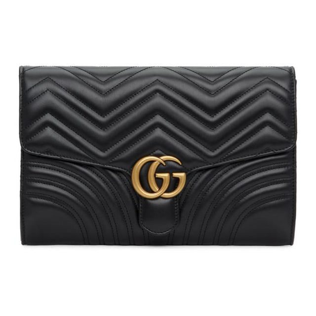 Gucci Black Medium GG Marmont 2.0 Clutch
