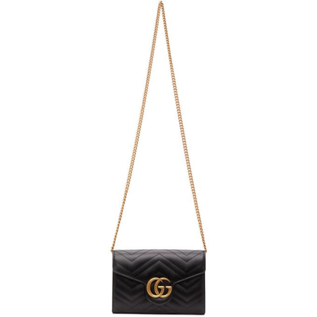 Gucci Black Mini GG Marmont Chain Shoulder Bag