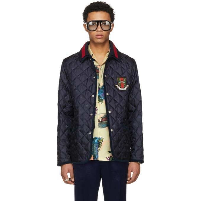 Gucci Blue Bee Quilted Jacket-BlackSkinny