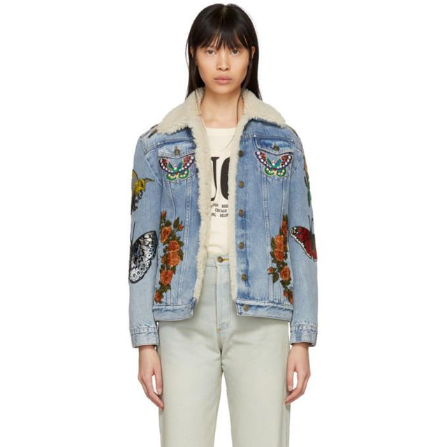 Gucci Blue Shearling 'L'Aveugle Par Amour' Denim Jacket-BlackSkinny