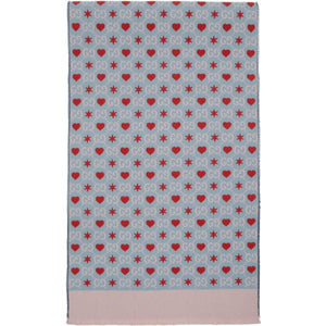 Gucci Blue Wool GG Hearts Scarf