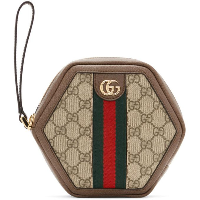 Gucci Brown and Beige Ophidia Supreme Pouch