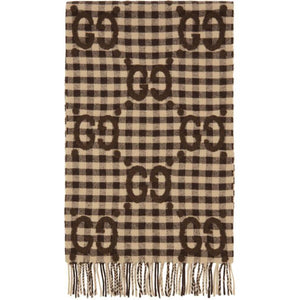 Gucci Brown Check Jacquard GG Scarf