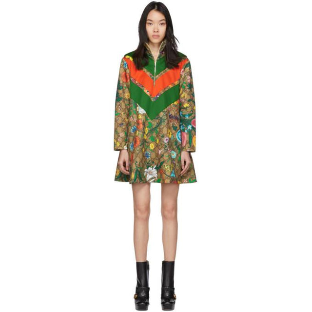 Gucci Brown GG Supreme Flowers Dress