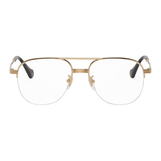 Gucci Gold Half-Rim Double Bridge Glasses