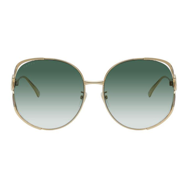 Gucci Gold Oversized Metal Sunglasses