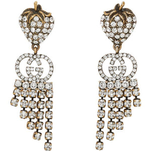 Gucci Gold Strawberry Crystal Earrings