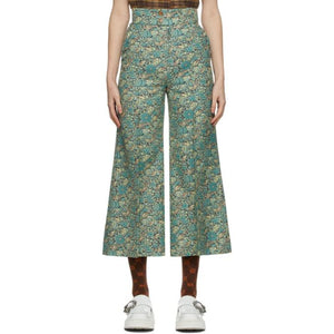 Gucci Green Liberty of London Edition Floral Wool Wide Trousers