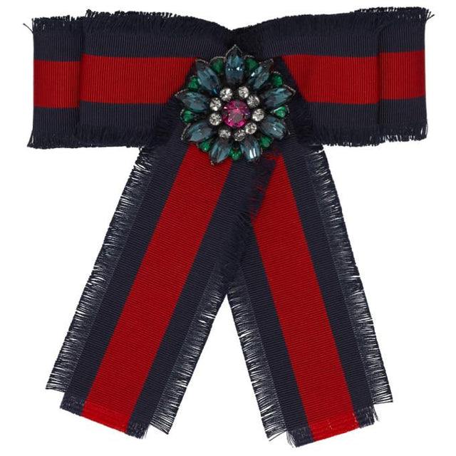 Gucci Navy and Red Striped Ribbon Brooch