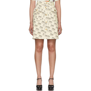 Gucci Off-White All Over Logo Stamp A-Line Skirt-BLACKSKINNY.COM
