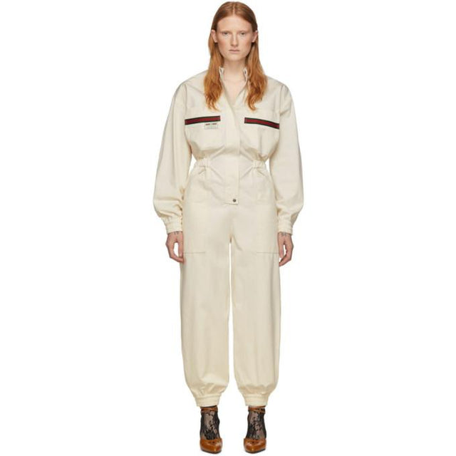 Gucci Off-White Canvas Jumpsuit