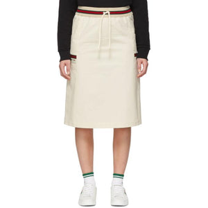 Gucci Off-White Canvas Panama Skirt