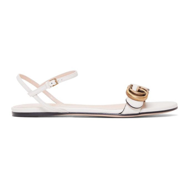 Gucci Off-White Leather GG Sandals