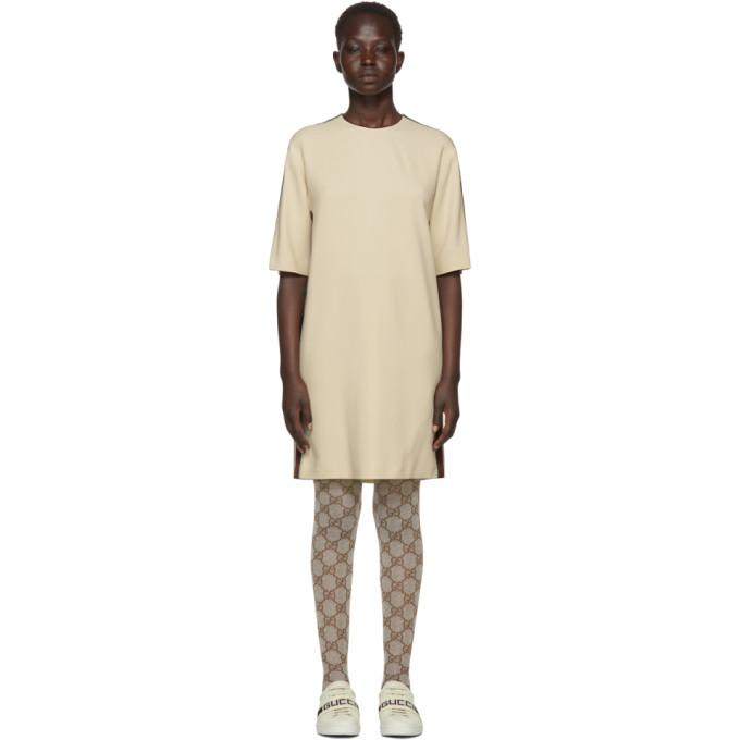 Gucci Off-White Webbing T-Shirt Dress-BLACKSKINNY.COM