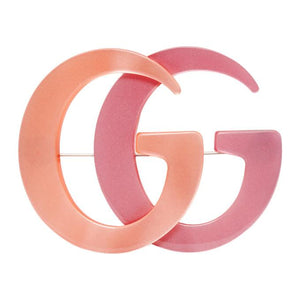 Gucci Orange and Pink Double G Brooch