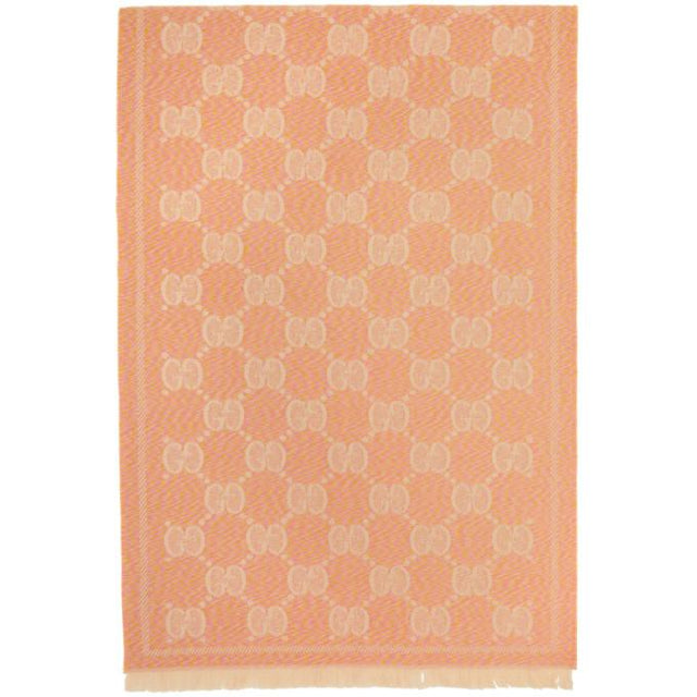 Gucci Pink and Beige Wool GG Scarf