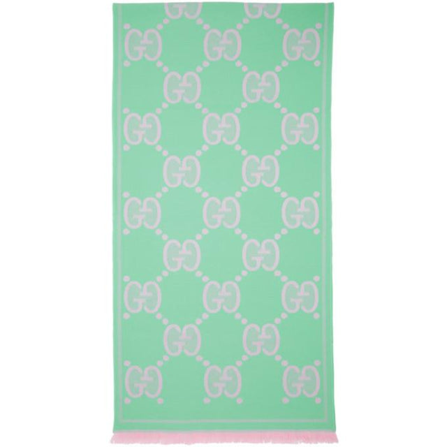 Gucci Pink and Blue Jacquard GG Wool Scarf
