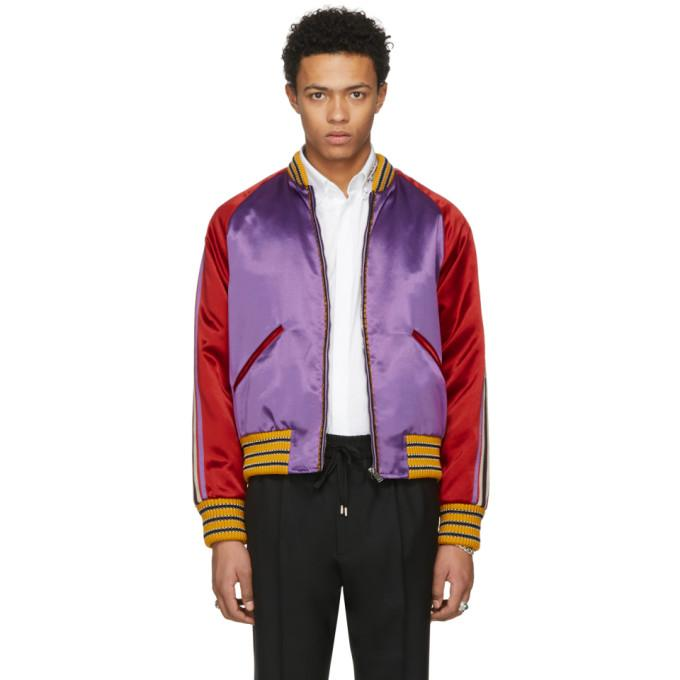 Gucci Purple 'Blind For Love' Tiger Bomber Jacket-BlackSkinny