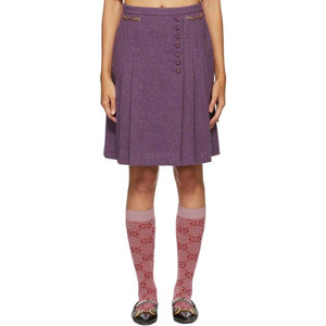 Gucci Purple Wool Tweed Horsebits Skirt