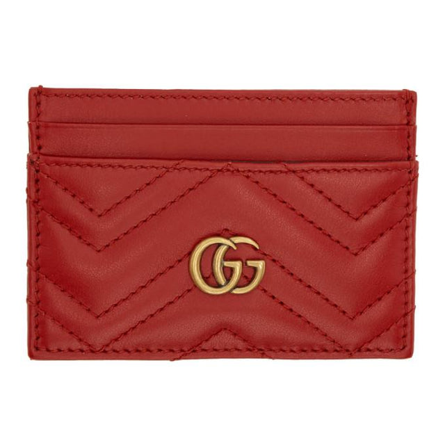 Gucci Red GG Marmont Card Holder