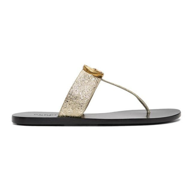 Gucci Silver GG Marmont Sandals