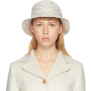 Gucci White Lame GG Bucket Hat