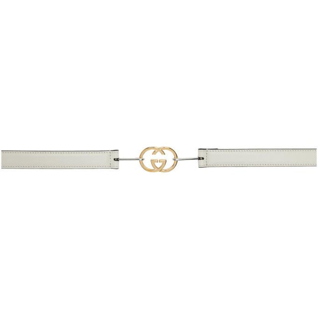 Gucci White Skinny Interlocking G Buckle Belt