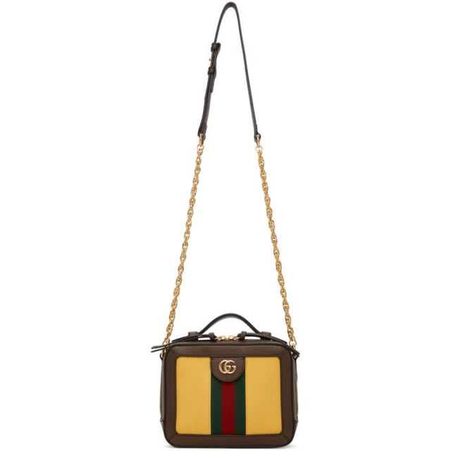 Gucci Yellow and Brown Ophidia Bag