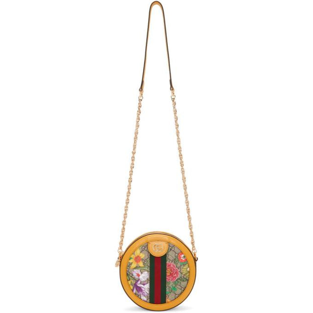 Gucci Yellow and Multicolor Mini Round Ophidia Bag