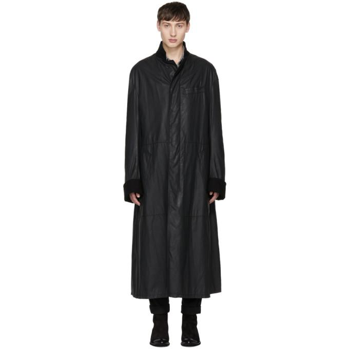 Haider Ackermann Black Waxed Overcoat-BlackSkinny